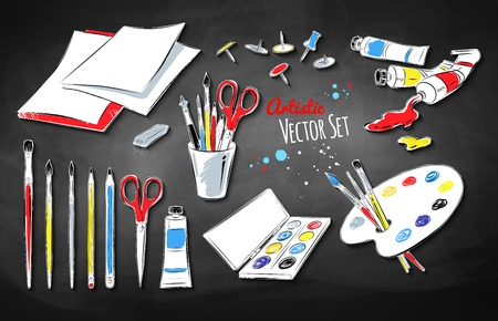 drawing pin: Vector set of artists supplies