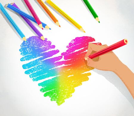 Vector illustration of hand drawing rainbow heart