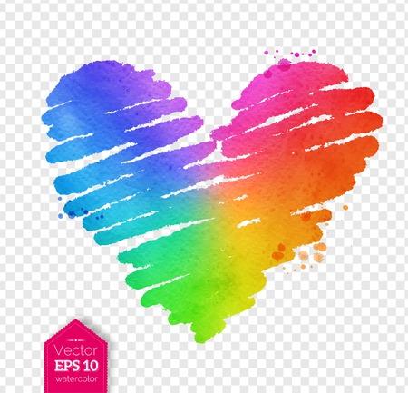 Watercolor sketch of rainbow colored heart 일러스트