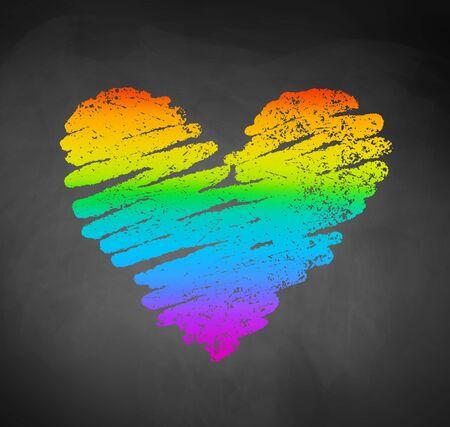 チョークで書かれたスケッチの虹色の心 写真素材 - 85184256
