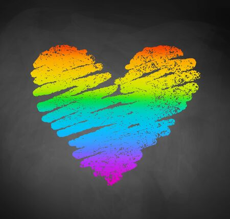 Chalked sketch of rainbow colored heart