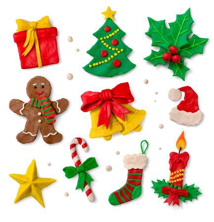 Christmas symbols on white background