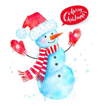 Christmas watercolor illustration of Snowman
