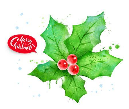 a sprig: Christmas illustration of mistletoe