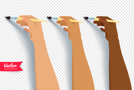 Vector collection of hands painting with brush isolated on transparency background.