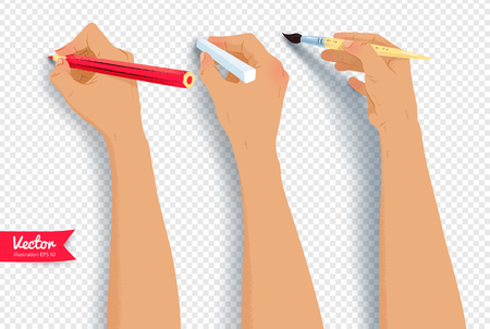 Vector collection of hands drawing with brush, pencil and chalk isolated on transparency background. Иллюстрация