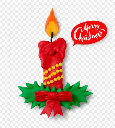 Hand made plasticine figure of Christmas candle