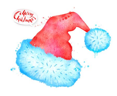 Vector watercolor illustration of Santa hat