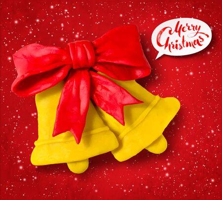 Vector plasticine figure of Christmas bells