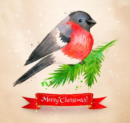 Christmas vintage postcard with bullfinch bird Illustration