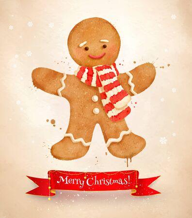 Christmas vintage postcard with gingerbread man Illustration