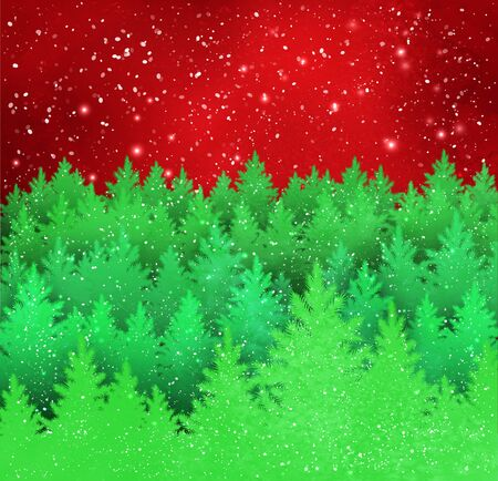 Winter landscape red and green illustration.