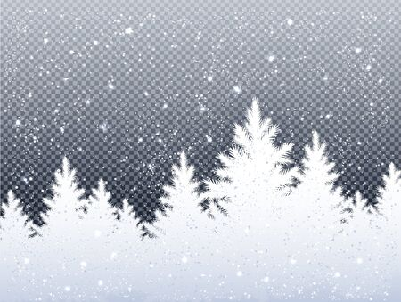 Winter Christmas landscape with icy spruce forest.