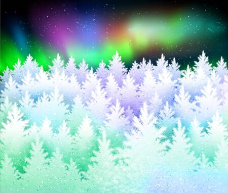 Christmas winter landscape background with conifers covered in snow Illustration