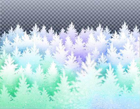 Winter landscape  with icy frozen spruce forest Ilustrace