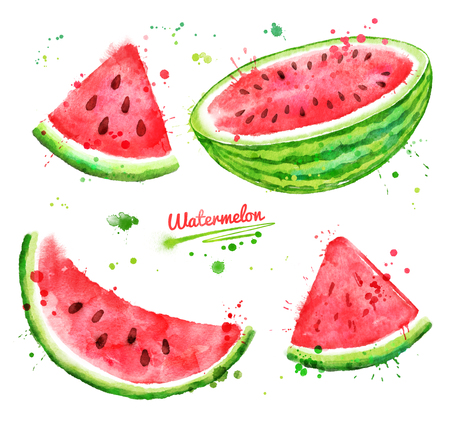 Watercolor set of watermelon Stock Photo