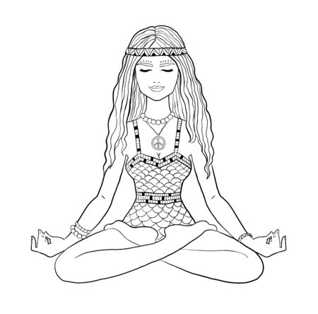 Young woman sitting in yoga lotus pose Stock Illustratie