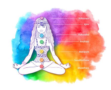 Young woman sitting at pose meditating. Illustration