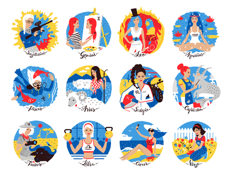 Collection of Zodiac signs using illustrations of a woman