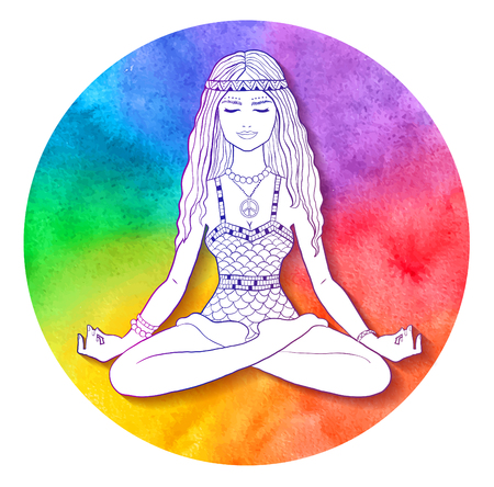 Young woman sitting while meditating in colorful illustration. Illustration