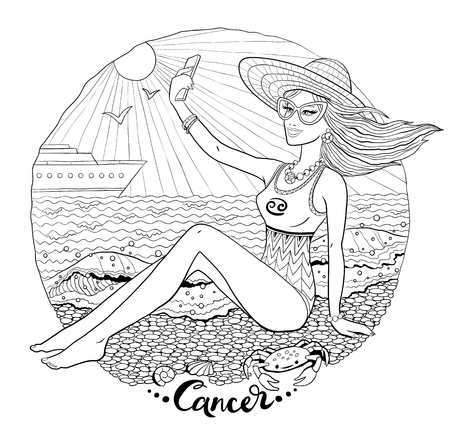 Cancer zodiac sign with young woman taking selfie on the beach. Vector line art illustration for adult coloring book page. Illusztráció