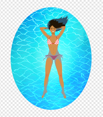 Top view vector illustration of young woman resting in floating tank with blue water on transparency background. Illustration
