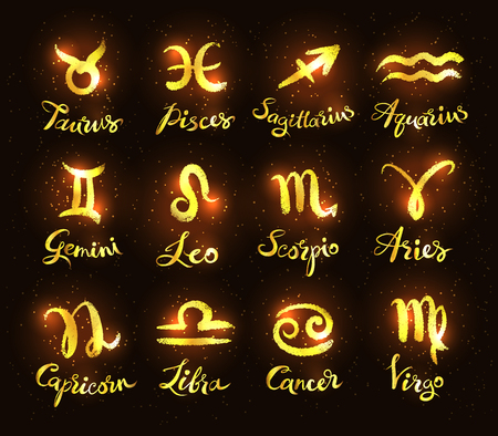 Gold and black collection of zodiac signs