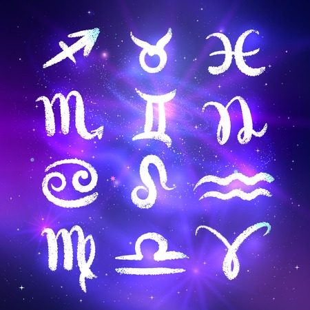 Zodiac signs glowing collection