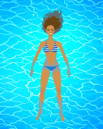 Vector illustration of woman floating on water