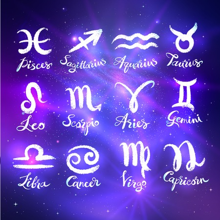 Glowing collection of Zodiac signs Иллюстрация