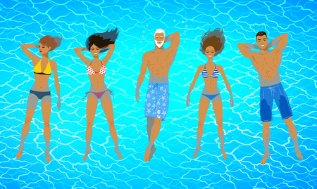 Illustration of people floating on water