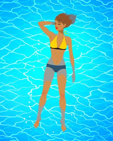 Top view illustration of happy young woman floating on blue water. Illustration