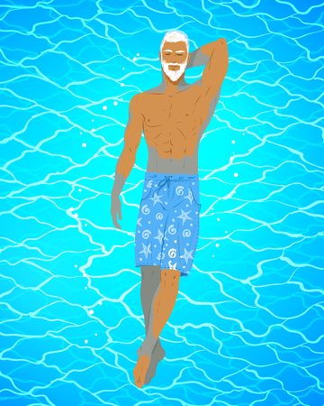 Vector illustration of man floating on water
