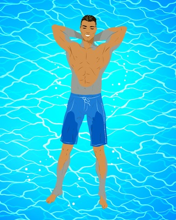 Happy young man floating on blue water Illustration