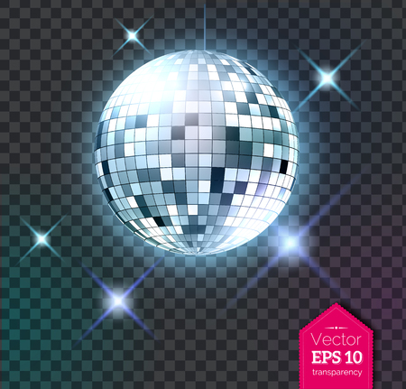 Silver disco ball with lights Vector illustration.