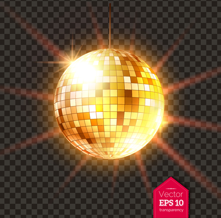 Golden Disco ball with light rays Vector illustration.