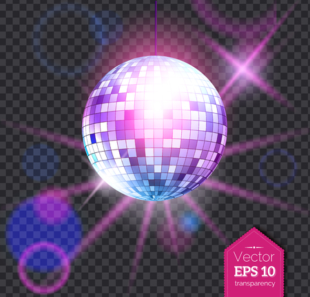 Violet disco ball with light rays Vector illustration.