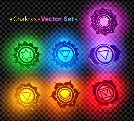 Vector set of illustrations of 3d chakra symbols.