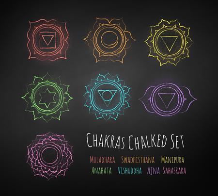 Chakras chalk drawn vector set. Stock Vector - 92543696
