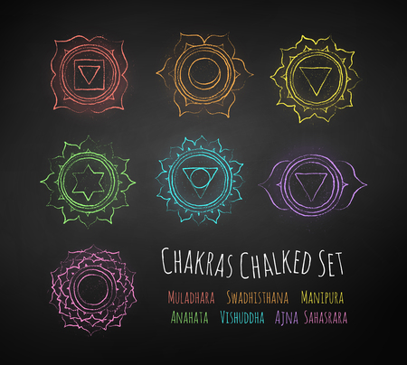 Chakras chalk drawn vector set.