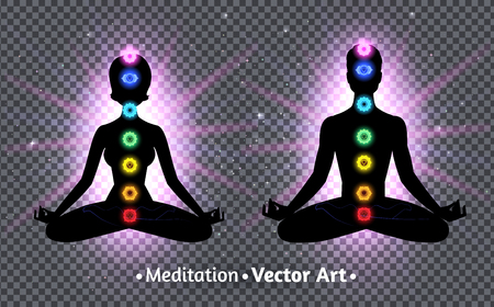 Vector illustration of meditating male and female silhouettes. Illustration