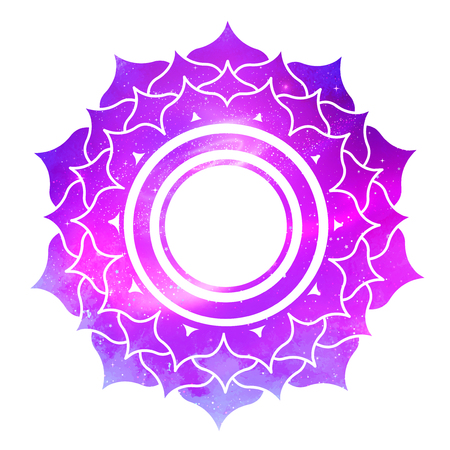 Vector illustration of Sahasrara chakra with outer space and nebula inside.
