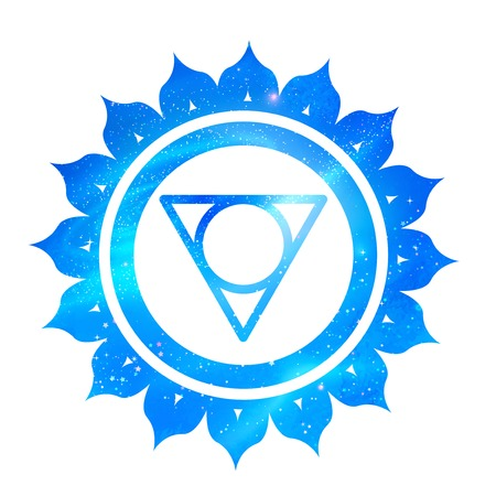 Vector illustration of Vishuddha chakra with outer space and nebula inside.