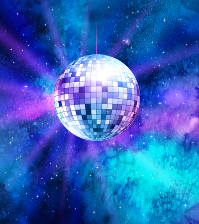 Vector illustration of disco ball on ultraviolet outer space background.