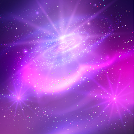 Vector glowing background with outer space in ultraviolet colors. Ilustração