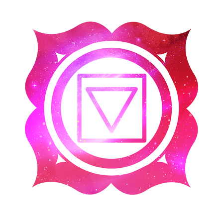 Vector illustration of Muladhara chakra with outer space and nebula inside.