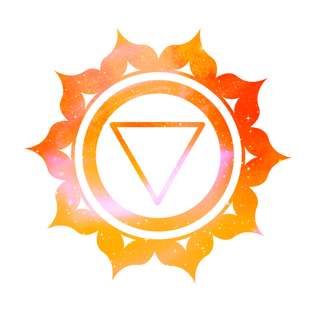 Vector illustration of Manipura chakra with outer space and nebula inside. Illustration