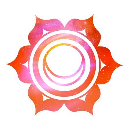 Vector illustration of Svadhisthana chakra with outer space and nebula inside. Иллюстрация