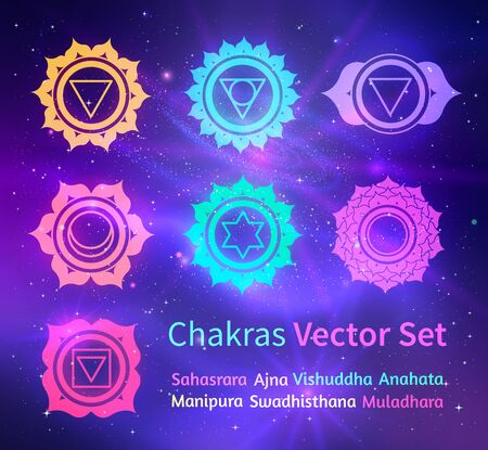 Vector illustration of glowing chakras on ultraviolet outer space background.
