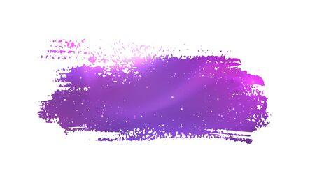Grunge hand getrokken banner met gloeiende violette kosmische ruimte binnen. Stock Illustratie